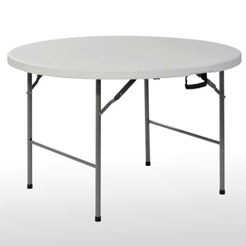 4 Ft. Round Fold In Half Plastic Table   White